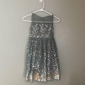 Gray Tulle Sequin Dress
